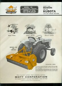 Details about Mott J 60 Safety Flail Mowers Kubota L185 & Similar Tractors  Dealer Sheet Page