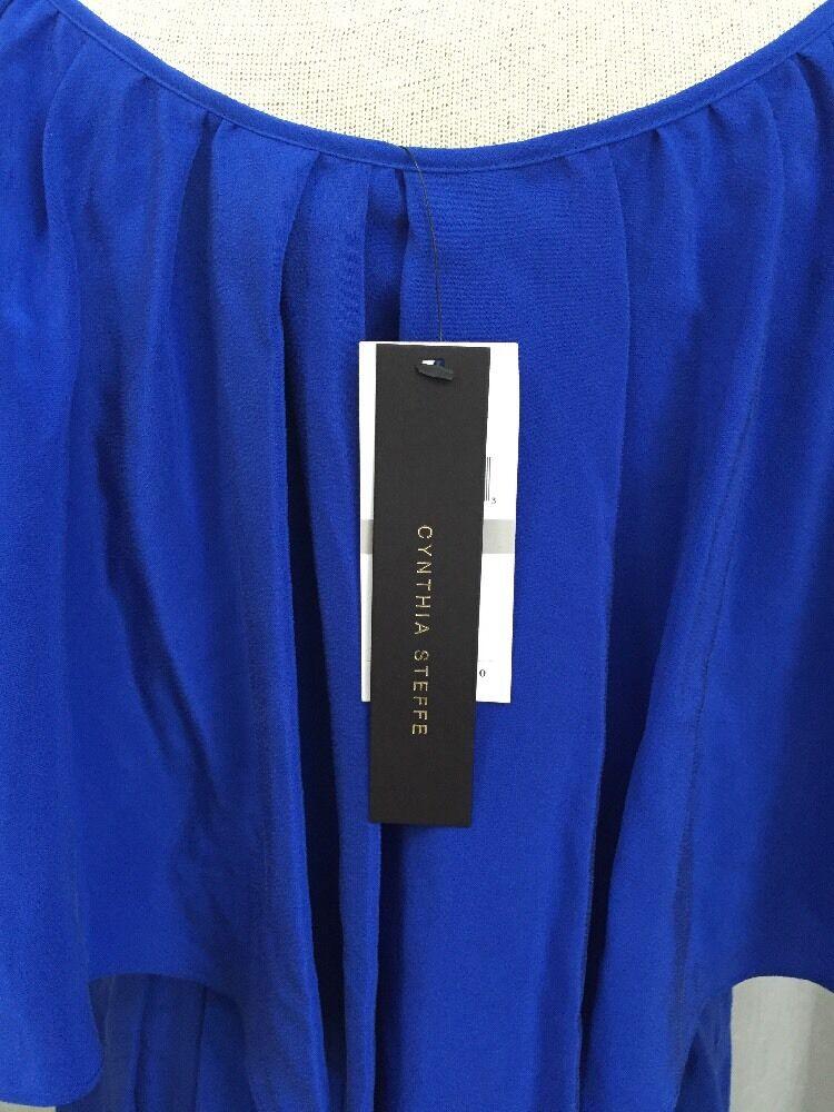 Cynthia Steffe Steffe Steffe Women's Dress Overlay Pool bluee Ruffles Size 0 NWT  275 eb0b2b