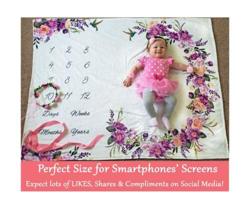 Baby Monthly Milestone Blanket Girl Floral Plush Fleece Baby Photography Ba...