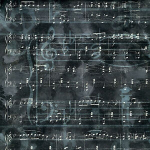 CHARCOAL MUSIC 12x12 Scrapbooking (2PC) Paper SHEET MUSIC NOTES