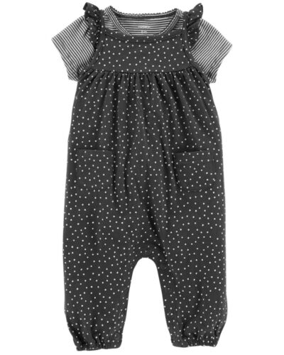 Carters Newborn Baby Girl 3 Months Tee /& Jumpsuit Set Clothes