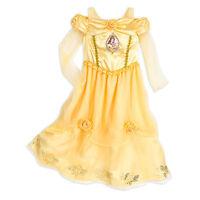 Disney Store Princess Belle Long Sleeve Nightgown Pajama Girl Size 5/6 7/8