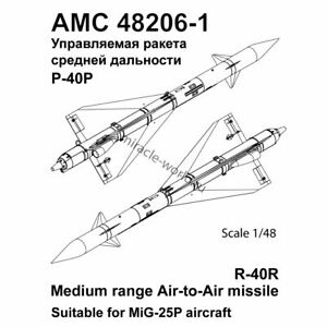 1//72 Advanced Modeling AMC72206-2 R-40RD medium range air-to-air missiles 2qty