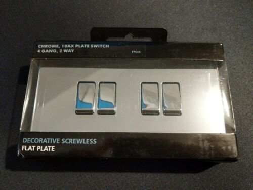 BG Nexus Screwless Flatplate Chrome Poli Quad Interrupteur de lumière 2 voies 10Amp FPC44