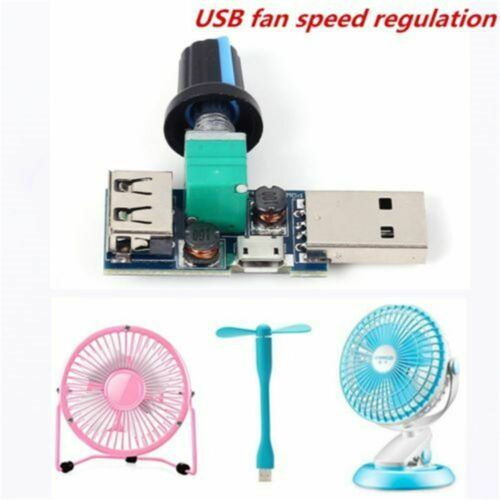 5W Reducing Noise Fan Speed Controller Governor Adjustment DC 4-12V USB Fan