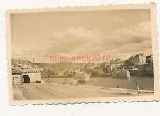 Foto, Blick auf die zerstörte Brücke von Rouen, Frankreich (W)1801