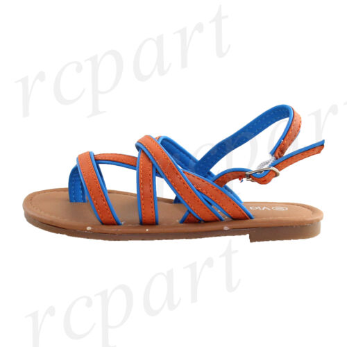 New girl/'s kids buckle sandals orange blue color summer casual t strap open toe