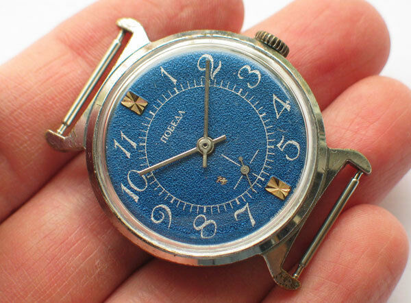Modern russian POBEDA ZIM watch 15J Awesome BLUE Dial, Crab case *SERVICED* VGC