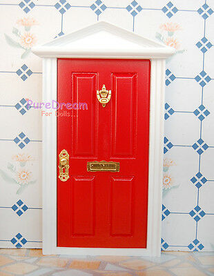 1:12 Scale Dollhouse Miniature Red Wood Door & LED Wall Lamp Set 2pcs
