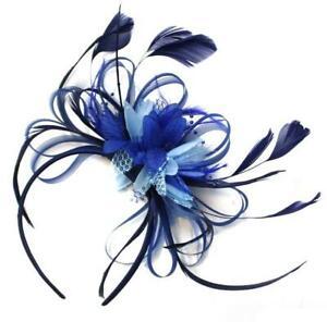 Grey Silver /& Navy Blue Fascinator on Headband AliceBand UK Wedding Ascot Races Loop