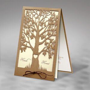 Craft Eco Shabby Tree Wedding Invitations Lace Laser Cut Free Pp