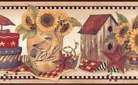 Wallpaper Border Quaker Country Shelf Sunflowers Birdhouse Wreath Stars