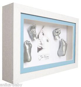 New 3D Large Baby Casting Kit + White Deep Box Frame Blue Boy's Memory Keepsakes