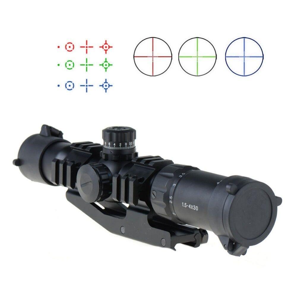Mira Para Rifle 1.5-4X30 táctica con Tri-Iluminado Chevron Recticle & pepr Mount