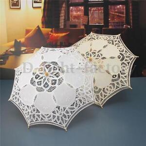 23-Lace-Cotton-Parasol-Bridal-Wedding-Decoration-Girl-Umbrella-Ivory-White