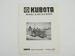 Vintage-Kubota-Tractor-Model-K-650-Backhoe-Owners-Manual-Service-Parts-List