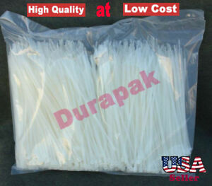 """2000 Pieces 5.5"""" Natural Cable Wire Zip Nylon Tie 18 Lbs Multi Purpose Use Ties"""