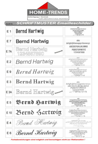 Emaille-Namensschild-175 x 75 mm-Schild-Email-Türschild-Emailleschild-Klingel