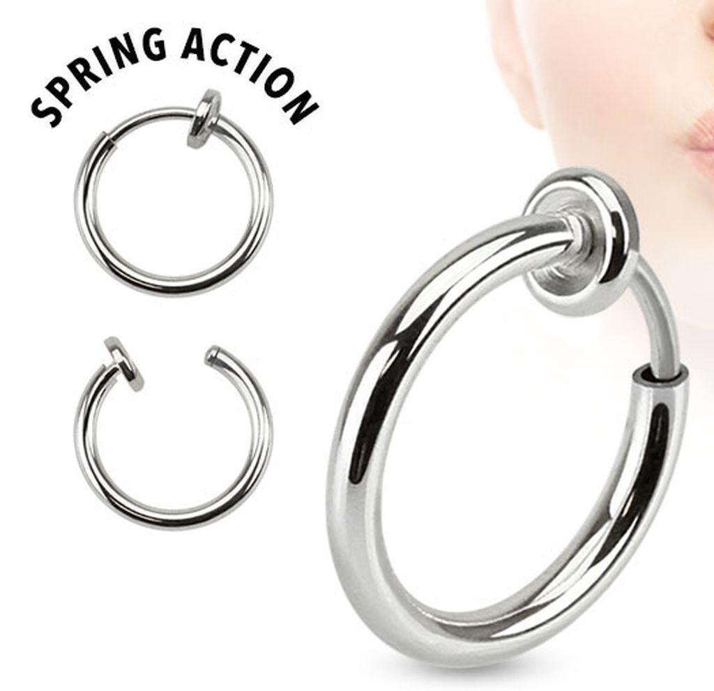 1pc Spring Action Non-Piercing Fake Septum Lip Cartilage Nose Tragus Hoop Ring
