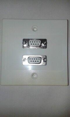 Piastra Muro/faccia 2 X Db9 Tipo D Di Serie 9-pin Prese Per Saldatura Morsetto #vid55-