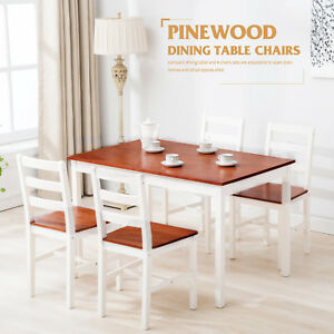 5 Piece Pine Wood Dining Table and Chairs Dining Table Set Kitchen ...