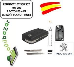 LLAVE-CARCASA-PEUGEOT-107-308-307-407-206-207-V1-HU83-2-BOTONES-ESPADIN-RANURA