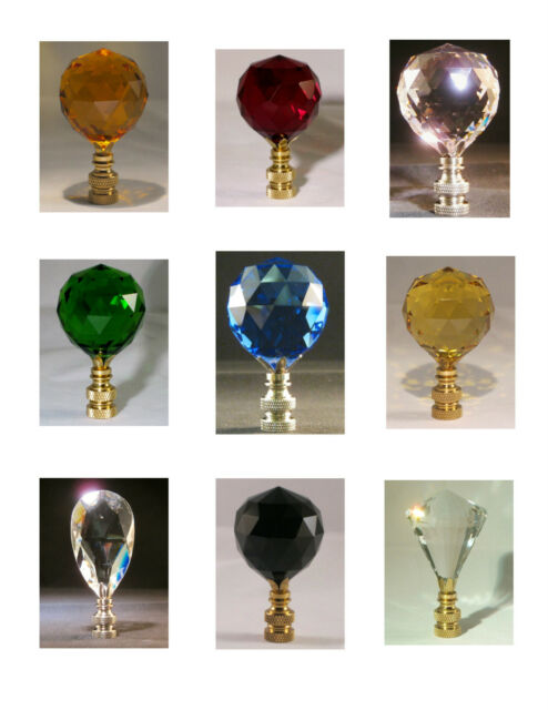 LAMP FINIAL**STUNNING** COLORED CRYSTAL LAMP FINIALS WITH BRASS OR NICKEL BASE