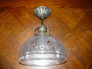Prunkvolle-Original-Jugendstil-Lampe-ca-1910-Messing-Decken-Aufhaengung