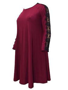 670e83924112 New Gemma Collins Evans Plus Size Swing Dress Burgundy Black lace ...