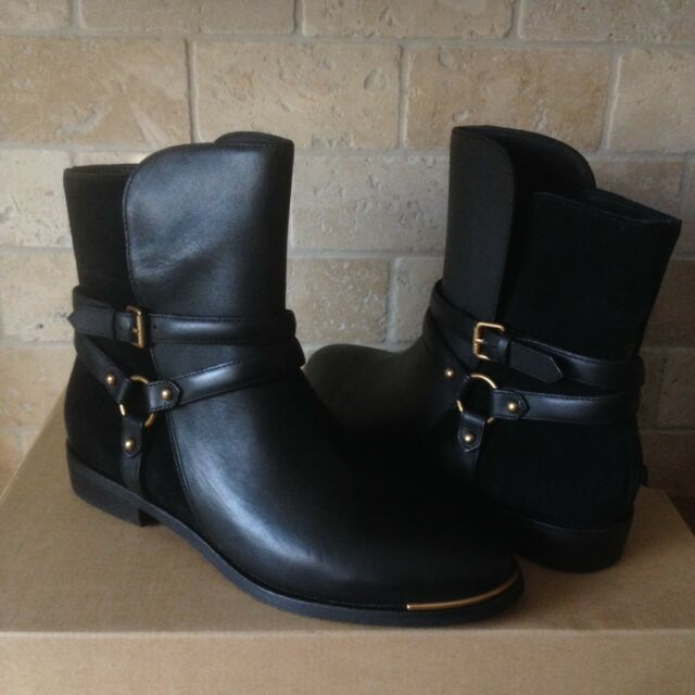 9b7b33233d7 UGG KELBY BLACK LEATHER HARNESS ANKLE BUCKLE BOOTS BOOTIES US SIZE 11 WOMENS