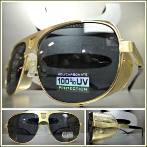 CLASSIC VINTAGE RETRO Blinder Style SUNGLASSES Unique Gold Frame Dark Black Lens