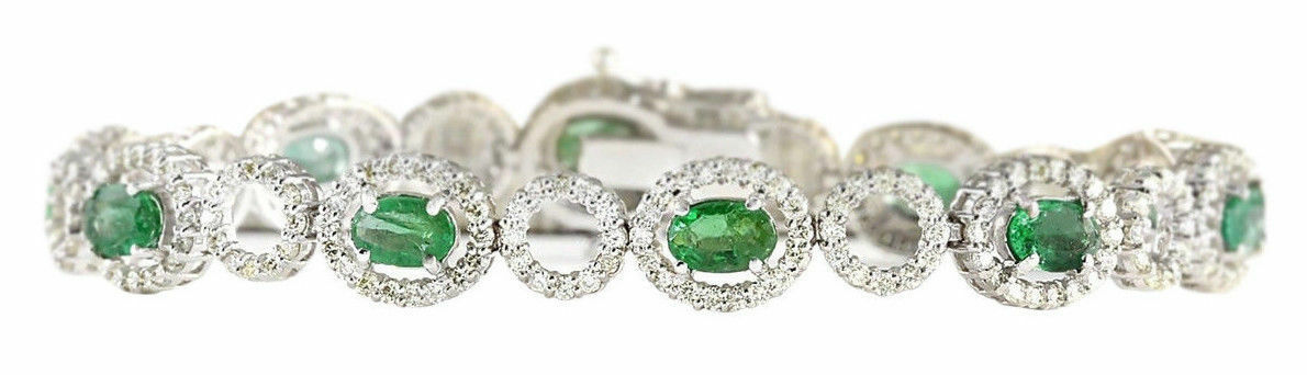 8.00 Carat Oval Emerald Luxury Diamond Bracelet 14K White gold Over