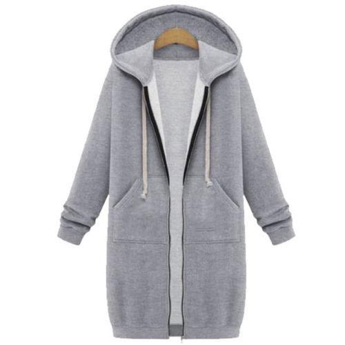 Womens Hoodies Zipper Sweatshirt Long Coat Jacket Tops Sweat Sport Trench Parka