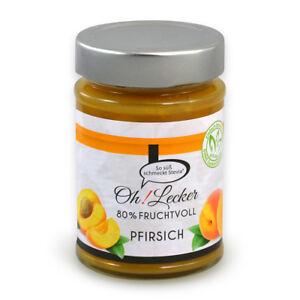 oh lecker stevia fruchtaufstrich pfirsich marmelade ohne zuckerzusatz 180 g ebay. Black Bedroom Furniture Sets. Home Design Ideas