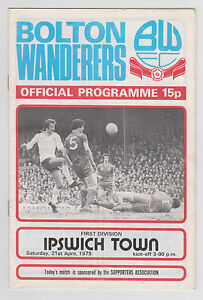 Programme-Programma-Bolton-Wanderers-v-Ipswich-Town-21-04-1979