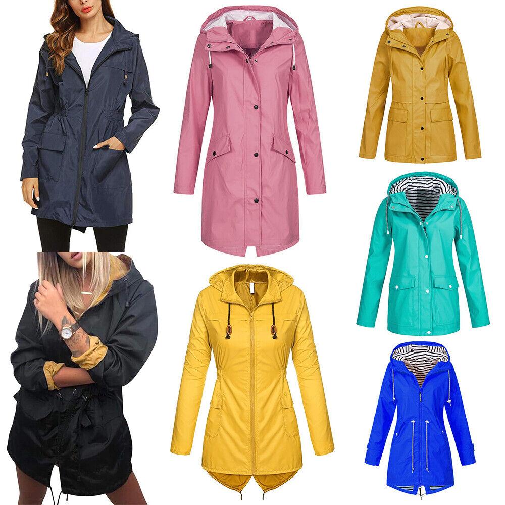 UK Women Waterproof Coat Raincoat Outdoor Wind Rain Forest Jacket Hoodies Coat