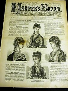 Harper's Bazar March 7 1874 w PATTERN Supplement - Ladies Girls Jackets Collars