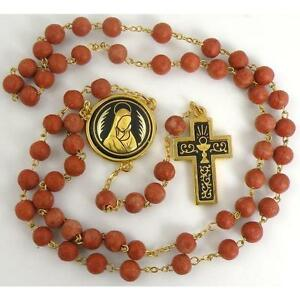 Damascene-Gold-Rosary-Cross-Virgin-Mary-Red-Beads-by-Midas-of-Toledo-Spain