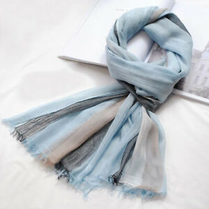 62078dbc4 Image is loading Linen-Scarf-Spring-Summer-Collection-Womens-Mens-Fashion-