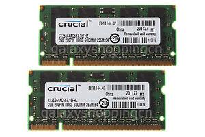 Crucial-4GB-4-GB-2X-2GB-PC2-5300-DDR2-667MHz-200PIN-SODIMM-Laptop-Memory-RAM-2-G