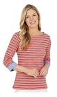 Nautica Womens Medium Shirt Pink Stripe Navy White Boat Neck 3/4 Cuffed Sleeves