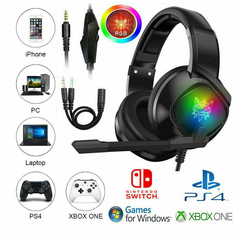 ONIKUMA K19 Gaming Headset Mic LED Headphones Stereo For PC Laptop PS4 Xbox one