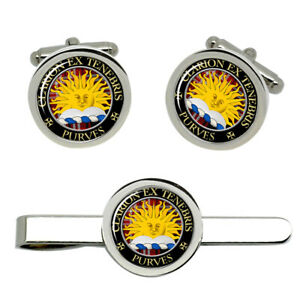 Purves-Scottish-Clan-Cufflinks-and-Tie-Clip-Set