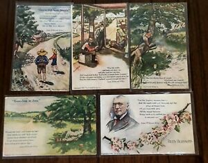 Lot-of-5-James-Whitcomb-Riley-Antique-1908-Poem-Postcards-Cobb-Shinn-s583
