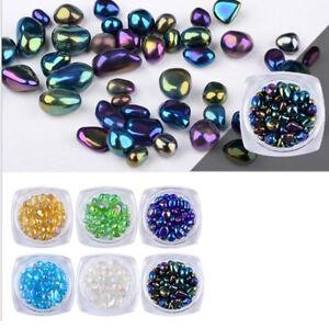 Gam-Belle-1-Box-Beads-Rainbow-Nail-Art-Rhinestone-Small-Holographic-Chameleon