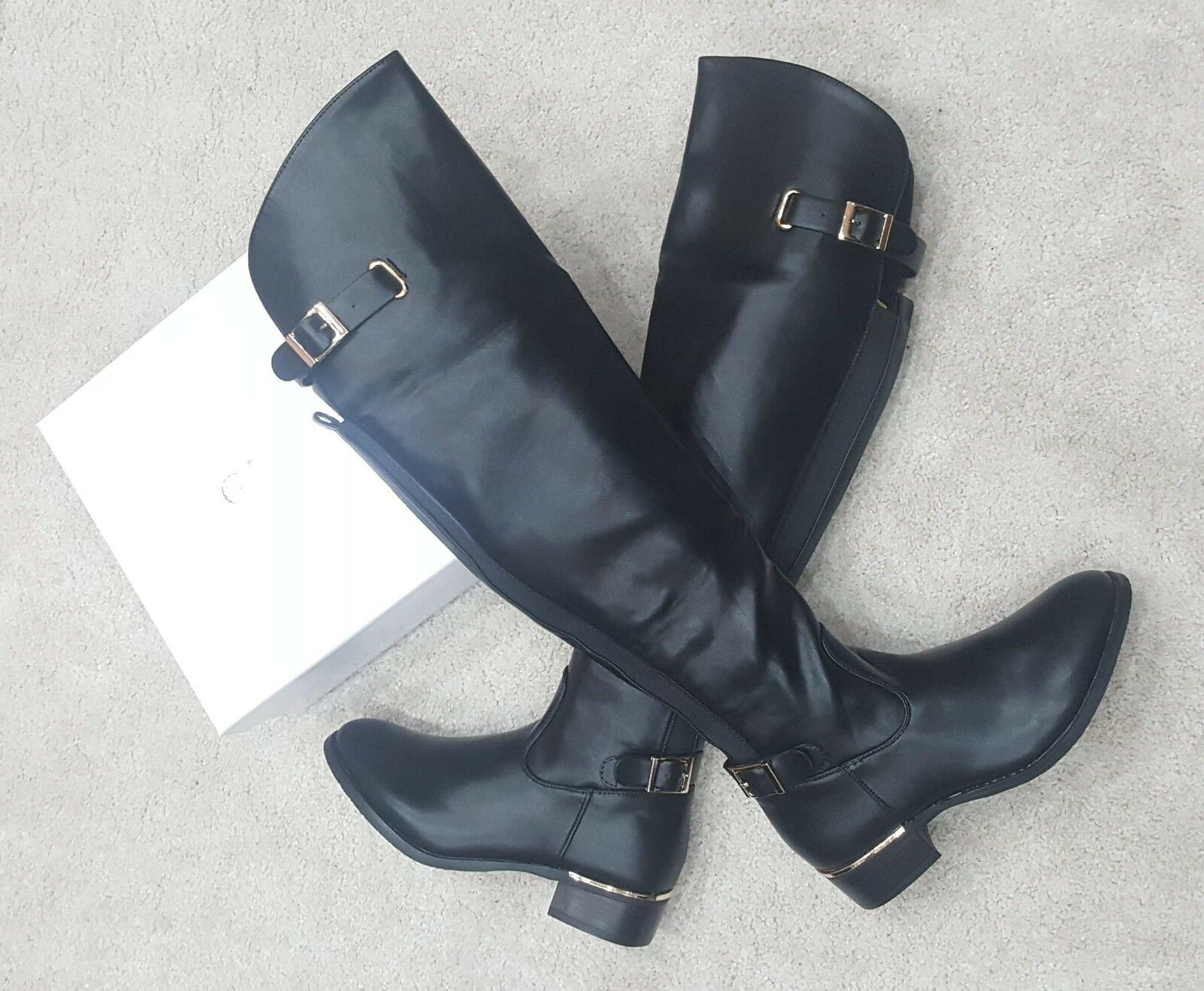 Extra Wide Stretchy Over Knee Boots Flat Heel Sizes 3,4,5,