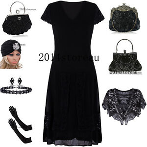 Black-Dress-1920-039-s-Costumes-Evening-Gowns-Vintage-Gatsby-Short-Prom-Dresses-S-XL