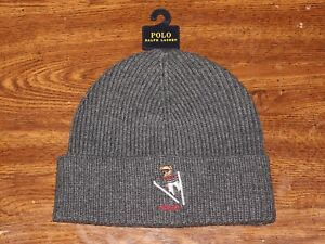 95063a93a Details about New Polo Ralph Lauren Gray Ski Bear Beanie Winter Hat One  Size Logo NWT
