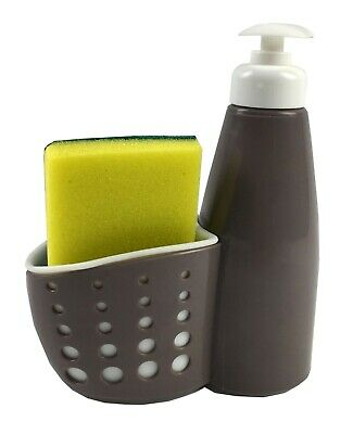 Grey EBY56034 Soap Dispenser with Perforated Sponge Holder