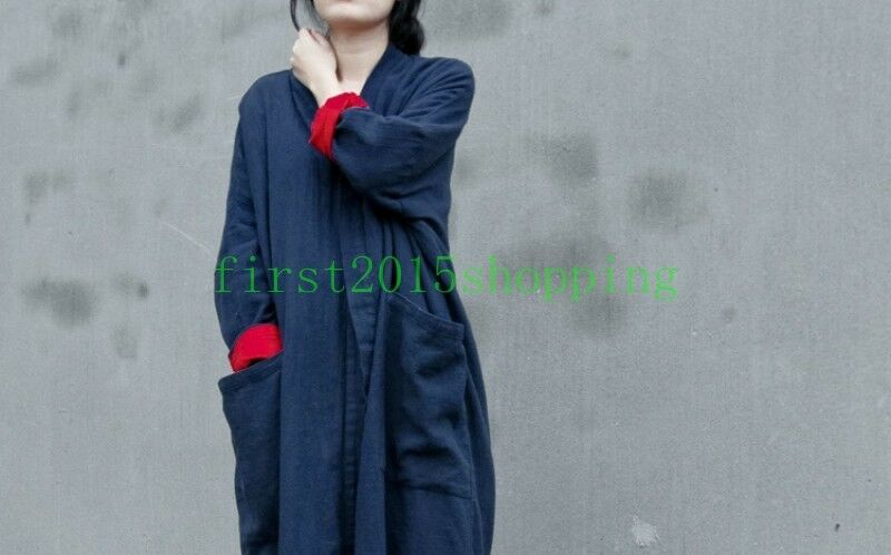 Vintage New Women's Linen Open Front Loose cardigan Outerwear Long Robe Gown